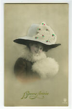 c 1910 Lovely Young FASHION BEAUTY Big HAT glamour photo postcard