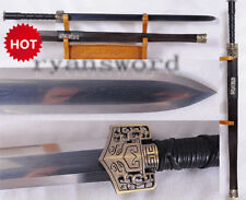 Chinese Sword Han Jian Double Edge 1095 Carbon Steel+Folded Steel Combined