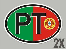 2 Portugal Portuguese PT OVAL window code stickers flag decal bumper car CL048
