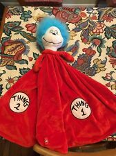 Dr Seuss Thing 1 & Thing 2 Large Red Plush Baby Security Blanket Lovey Toy