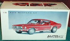 AUTOART 1968 FORD MUSTANG GT 1/18 RED FASTBACK RARE!