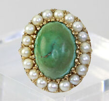 Vintage turquoise pearl ring 14K yellow gold ornate 13.80C cabochon 18 round 4MM