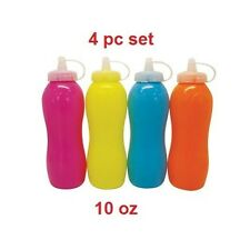 4 Condiment Containers Dispenser Bottle Set Ketchup Mustard Oil Dressing 10 oz