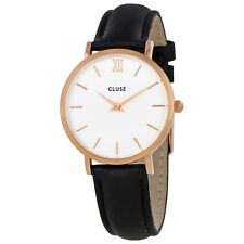 Cluse Minuit Black Leather Ladies Watch CL30003