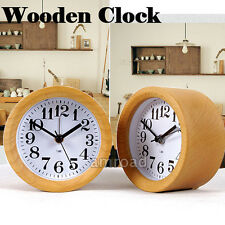 NEW Wood Small Desk Alarm Clock Round Silent No Ticking Digital Bedside Clock