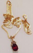 collier vintage couleur or pendentif cristal grenat et solitaire diamant 355
