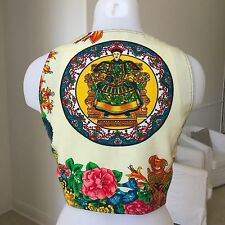 vintage ISTANTE by GIANNI VERSACE 93 leather & cotton vest Chinese Emperor print