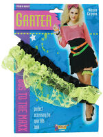 1980s 80s Neon Lace Green Garter Hen Wedding Night Disco Fancy Dress Accessory