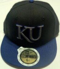 New Era KU Kansas baseball hat cap flat bill fitted size 6 5/8 53cm black kids