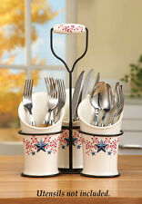 COUNTRY BERRY STAR SILVERWARE HOLDER KITCHEN DINING ROOM TABLE HOME ACCENT DECOR
