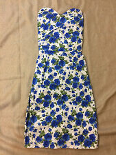 Maggie Tang 50s Strapless Vintage Rockabilly Cocktail Party XXS Blue Floral 079
