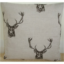 "NEW 20"" Cushion Cover Fryetts Stag Charcoal Black Beige Stags Deer Antlers"