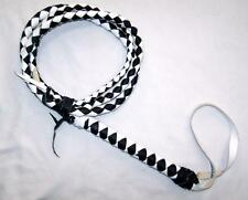 REAL LEATHER MEXICO DELUXE BLACK & WHITE BULL WHIP training horse bullwhip whips