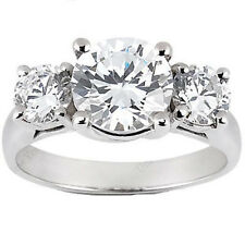 2 carat total, 3 STONE ROUND DIAMOND ENGAGEMENT WEDDING RING F color SI clarity