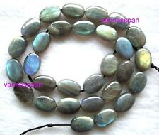 Natural Labradorite Flat Oval Beads 10×14mm 15.5""