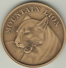 Mountain Lion coin antique bronze engravable medallion
