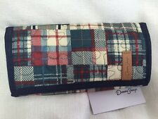 NEW DONNA SHARP PIPER PATCH PLAID MEDIUM WALLET - Navy Blue Burgundy Cream Tan