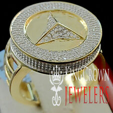 Mens 10K Yellow Gold Finish .40ct Genuine Real Diamond Pinky Ring Band
