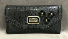 NEW GUESS BLACK BRITTON SLG FLORAL CLUTCH WALLET