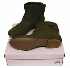 WOMENS Hunter Green Faux Suede Ankle Boots With Rear Buckle Strap SIZE 8/42