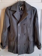 "LADIES GRAY GUESS PEACOAT MILITARY ""GUESS"" EMBROIDERED WINGS ON SLEEVE SZ P/SM"