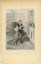 ANTIQUE VICTORIAN MAN READING LETTER CHAIR WOMAN PARLOR CHINE COLLE OLD PRINT