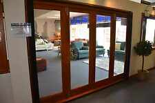 BIFOLD STACKER DOORS, SOLID TIMBER CEDAR,TOP-HUNG, STAINED, FULLY BUILT, NEW
