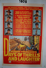 DAYS OF THRILLS & LAUGHTER Original 1sh Movie Poster 1961 Charlie Chaplin