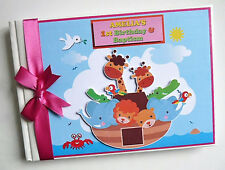 PERSONALISED NOAH'S ARK GIRL/BOY FIRST/1ST BIRTHDAY GUEST BOOK ANY DESIGN