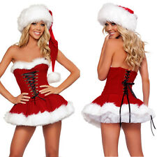Sexy Miss Mrs Santa Claus Lady Fancy Dress Christmas Party Women Costume Outfit