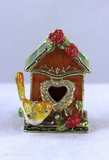 Enameled Pewter Bejeweled Trinket Box w Treasure Inside  Gold Finch w Bird House
