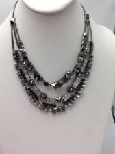 $195 Givenchy Hematite Tone Multi Layered Crystal Collar Statement Necklace