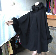 Lambswool Cashmere & Real Fox Fur Collar & Cuffs Black Winter Cape Coat One Size