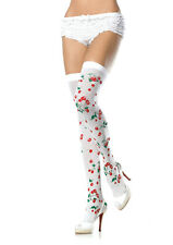 White Cherry Print Thigh Highs, Stockings, Leg Avenue, Sexy Vintage, Pin-Up
