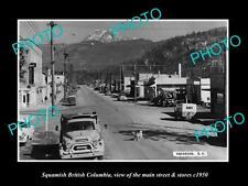 OLD HISTORIC PHOTO OF CANADA, SQUAMISH BRITISH COLUMBIA, MAIN St & STORES c1950