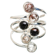 Black Onyx, Rutilated Quartz 925 Sterling Silver Ring Size 8.25 Jewelry R820915