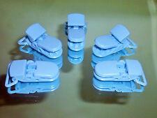 5 X Plástico Azul Fuerte Kam Baby ficticia Chupete Clips apertura se adapta a cinta de 20 mm