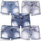 New Ladies Women Mid Waisted Embellishment Ripped Stretchy Denim Shorts 6-14