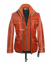 Franco Chestnut Brown Mens Retro Casual Real Waxed Quilted Leather Safari Jacket