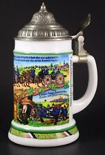 "Vintage Historic German Military BMF 8"" Lidded Beer Stein Excellent Condition"