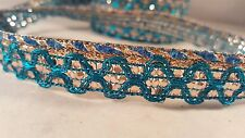 1.4cm- 1 meter Beautiful turquoise and gold sequins lace trimming for crafts