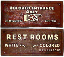 """1 """"Colored Entrance Only"""" 1-""""Rest Rooms"""" Black Americana cast iron signs #combo1"""