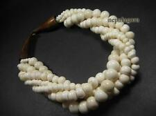 N3656 tribal multi strand off white Bone beads horn Women statement NECKLACE