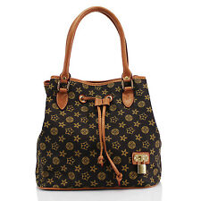 Ladies Brown Gold Circles/Stars Handbag Tote Bucket Bag Shoulder Grab Handles