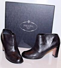 PRADA Women's Black Leather ANKLE BOOTS  Pull On BOOTIES size 39 EUR