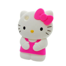 For Apple IPod Touch 4 3D Hello Kitty Soft Silicone Case Cover - Hot Pink