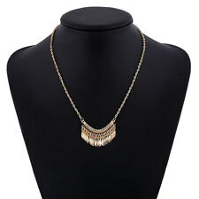 Clear Crystal Rhinestone Tassels Pendant Gold Plated Chain Necklace Charm Jewely