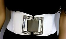 "Women Waist Hip Wide Silver Metal Plate Fashion Belt White Elastic 28""-43"" S M L"