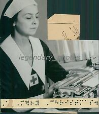1937 Mrs. Smith Types Christmas Cards in Braille Original News Service Photo