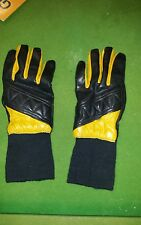 Vintage black and yellow leather gloves Size S